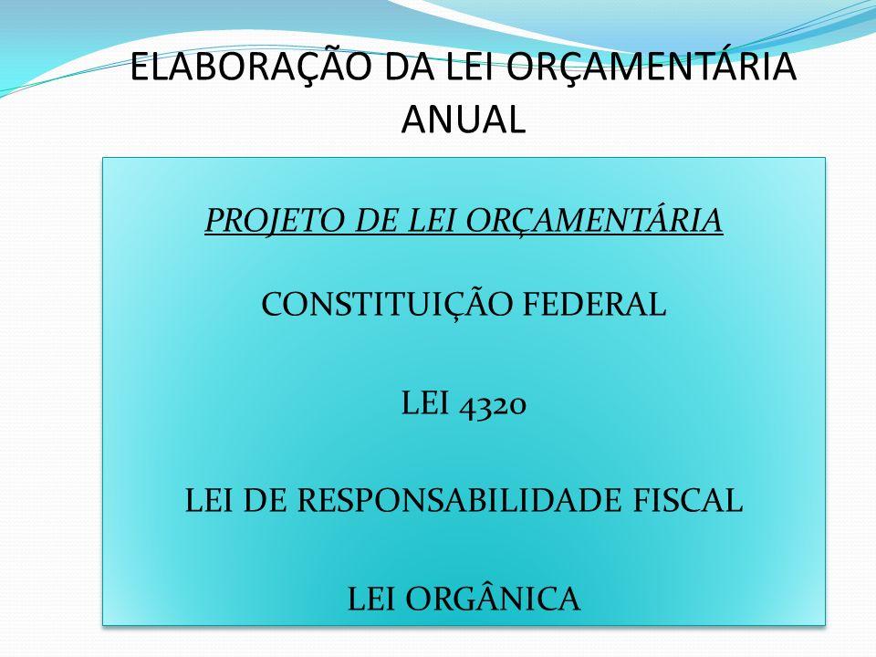 ELABORAÇÃO DA LEI ORÇAMENTÁRIA ANUAL PROJETO DE LEI ORÇAMENTÁRIA CONSTITUIÇÃO FEDERAL LEI 4320 LEI DE RESPONSABILIDADE FISCAL LEI ORGÂNICA PROJETO DE LEI ORÇAMENTÁRIA CONSTITUIÇÃO FEDERAL LEI 4320 LEI DE RESPONSABILIDADE FISCAL LEI ORGÂNICA