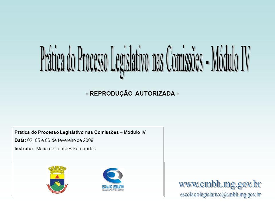 Prática do Processo Legislativo nas Comissões – Módulo IV Data: 02, 05 e 06 de fevereiro de 2009 Instrutor: Maria de Lourdes Fernandes - REPRODUÇÃO AUTORIZADA -