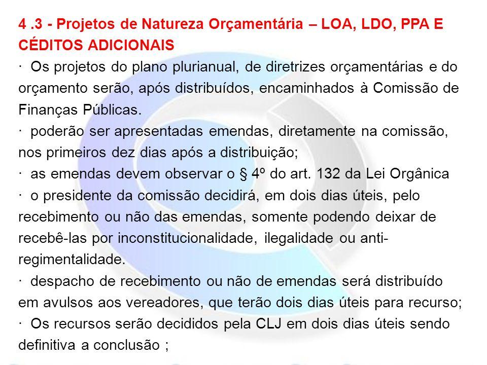 4.3 - Projetos de Natureza Orçamentária – LOA, LDO, PPA E CÉDITOS ADICIONAIS · Os projetos do plano plurianual, de diretrizes orçamentárias e do orçamento serão, após distribuídos, encaminhados à Comissão de Finanças Públicas.