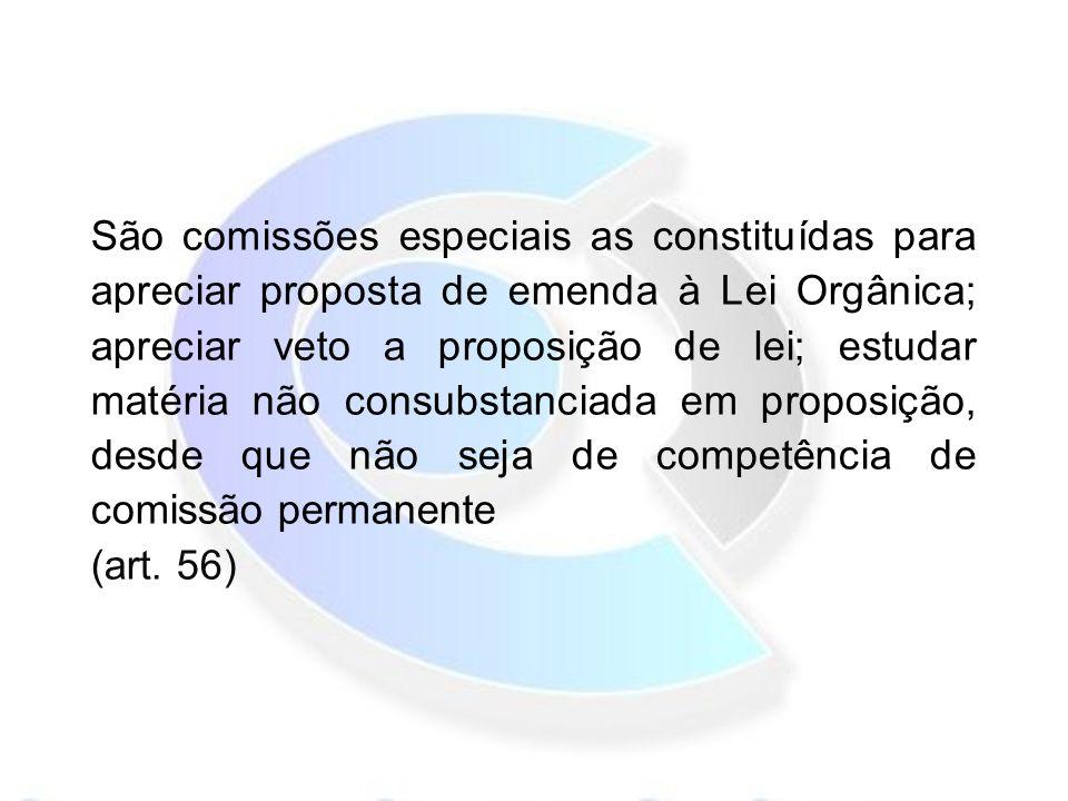 São comissões especiais as constituídas para apreciar proposta de emenda à Lei Orgânica; apreciar veto a proposição de lei; estudar matéria não consubstanciada em proposição, desde que não seja de competência de comissão permanente (art.