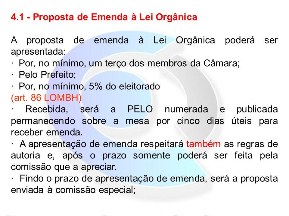 4.1 - Proposta de Emenda à Lei Orgânica A proposta de emenda à Lei Orgânica poderá ser apresentada: · Por, no mínimo, um terço dos membros da Câmara; · Pelo Prefeito; · Por, no mínimo, 5% do eleitorado (art.
