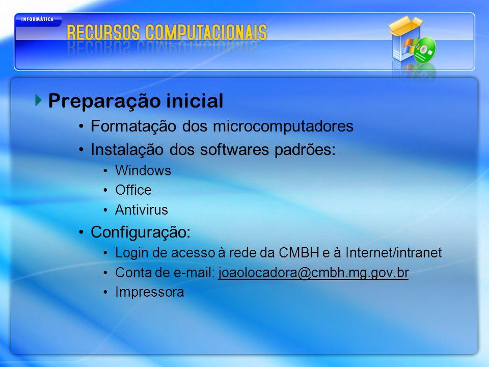 Preparação inicial Formatação dos microcomputadores Instalação dos softwares padrões: Windows Office Antivirus Configuração: Login de acesso à rede da