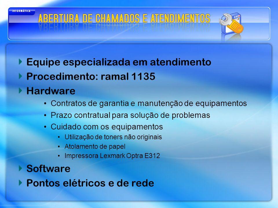 Equipe especializada em atendimento Procedimento: ramal 1135 Hardware Contratos de garantia e manutenção de equipamentos Prazo contratual para solução de problemas Cuidado com os equipamentos Utilização de toners não originais Atolamento de papel Impressora Lexmark Optra E312 Software Pontos elétricos e de rede