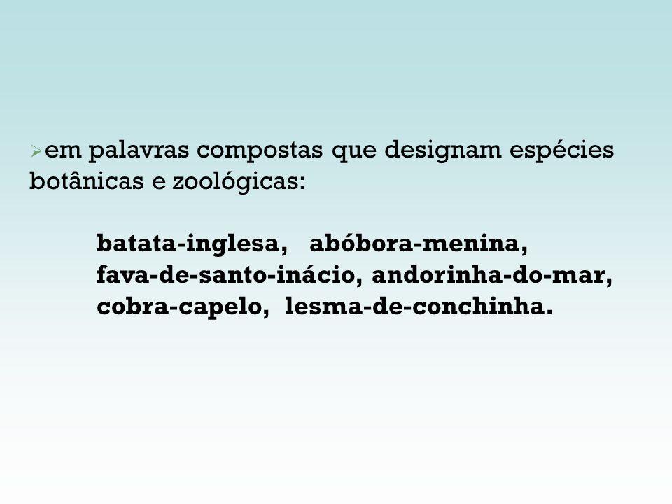 em palavras compostas que designam espécies botânicas e zoológicas: batata-inglesa, abóbora-menina, fava-de-santo-inácio, andorinha-do-mar, cobra-cape