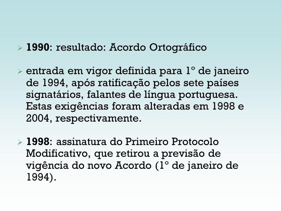 1990: resultado: Acordo Ortográfico entrada em vigor definida para 1º de janeiro de 1994, após ratificação pelos sete países signatários, falantes de
