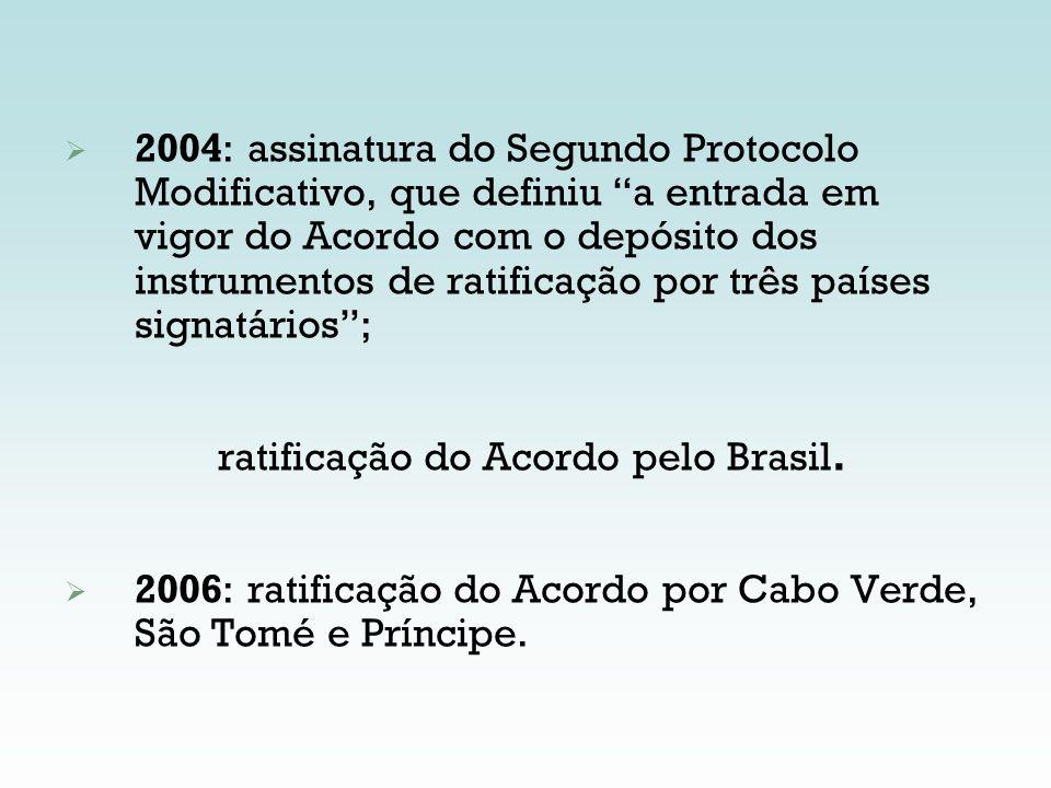 2004: assinatura do Segundo Protocolo Modificativo, que definiu a entrada em vigor do Acordo com o depósito dos instrumentos de ratificação por três p