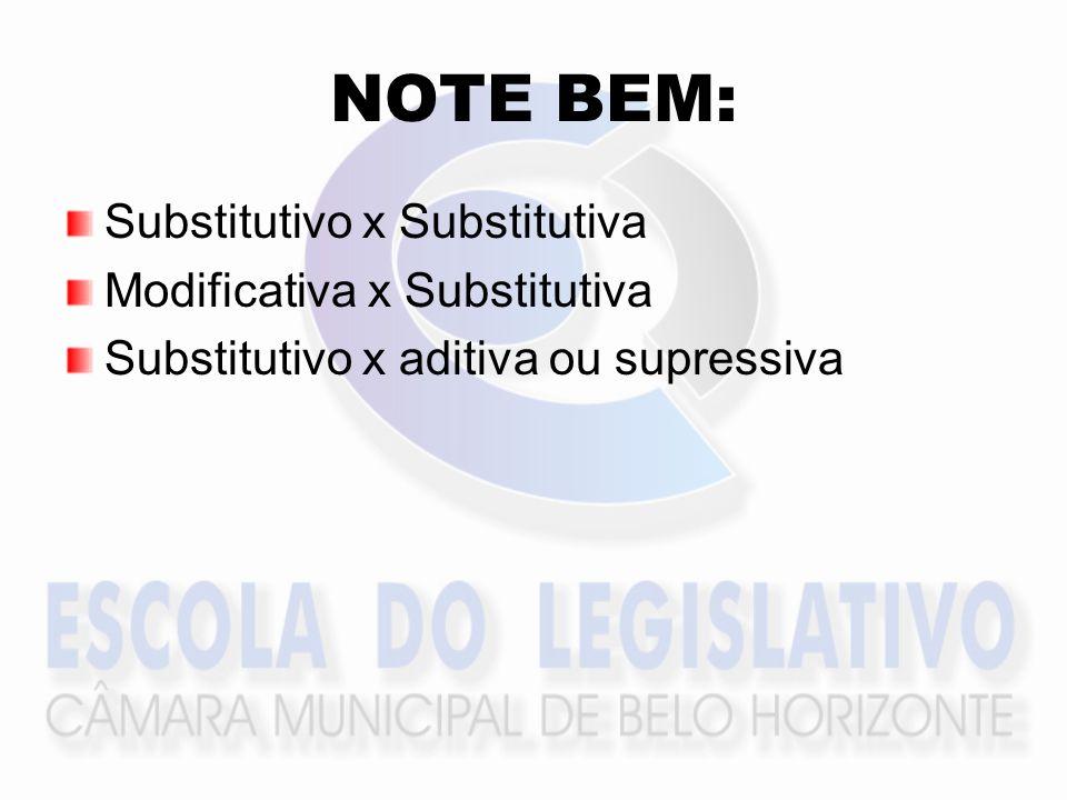 NOTE BEM: Substitutivo x Substitutiva Modificativa x Substitutiva Substitutivo x aditiva ou supressiva