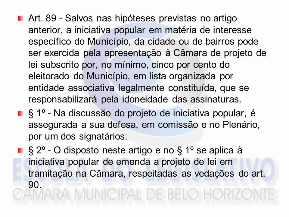 Art. 89 - Salvos nas hipóteses previstas no artigo anterior, a iniciativa popular em matéria de interesse específico do Município, da cidade ou de bai