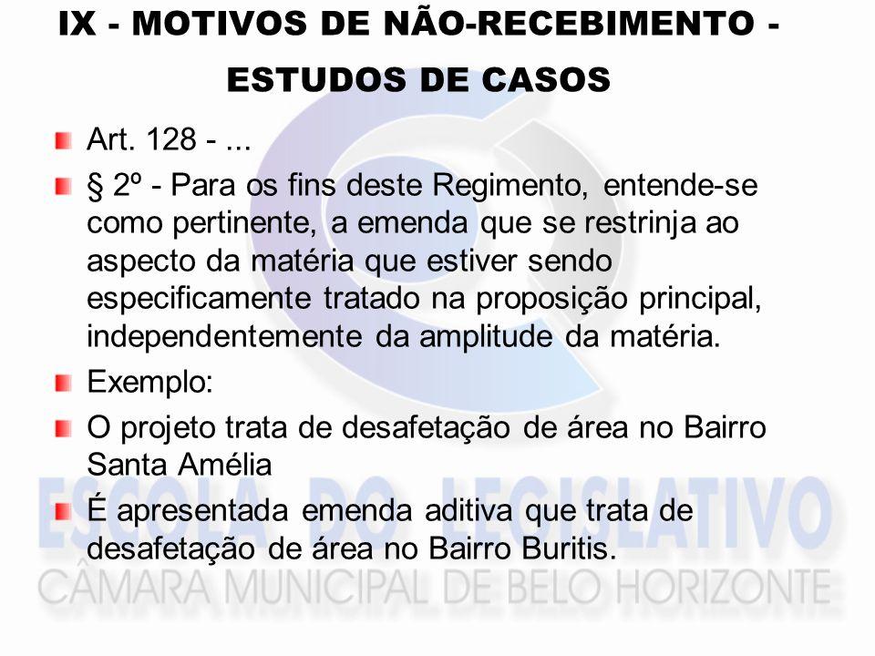 IX - MOTIVOS DE NÃO-RECEBIMENTO - ESTUDOS DE CASOS Art. 128 -... § 2º - Para os fins deste Regimento, entende-se como pertinente, a emenda que se rest