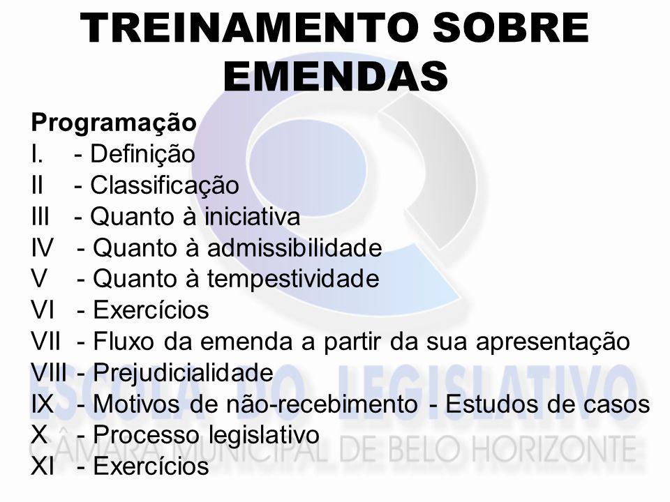 TREINAMENTO SOBRE EMENDAS Programação I.