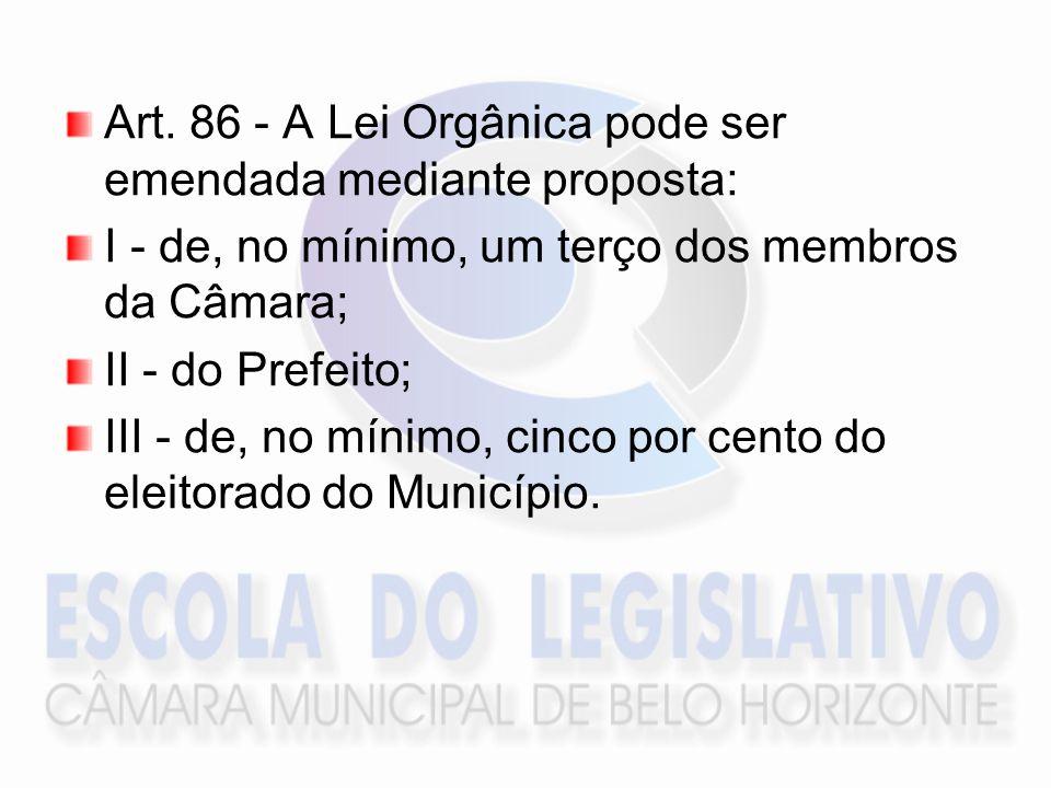 Art. 86 - A Lei Orgânica pode ser emendada mediante proposta: I - de, no mínimo, um terço dos membros da Câmara; II - do Prefeito; III - de, no mínimo