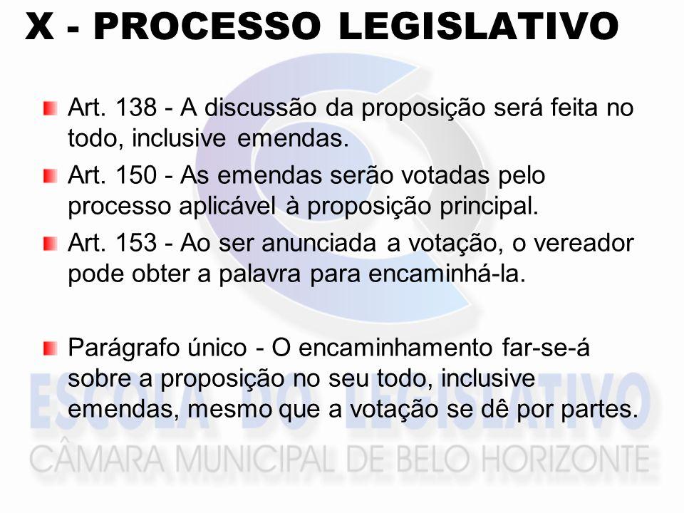 X - PROCESSO LEGISLATIVO Art. 138 - A discussão da proposição será feita no todo, inclusive emendas. Art. 150 - As emendas serão votadas pelo processo