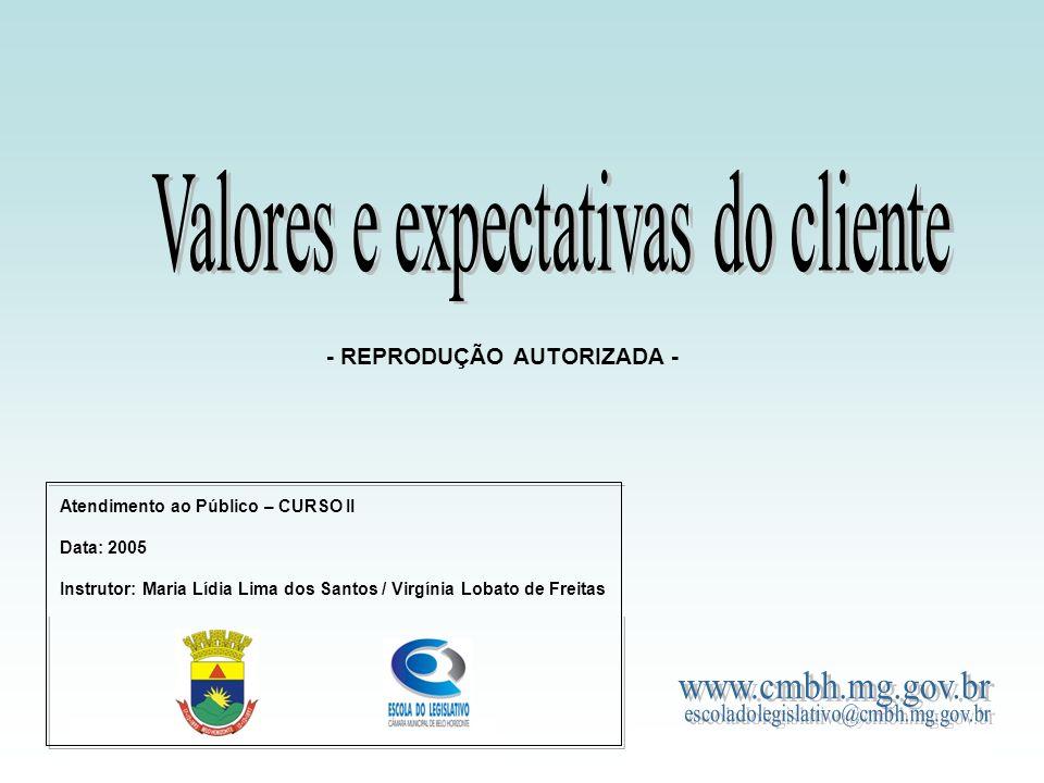 Curso de Atendimento ao Público Valores e expectativas do cliente - REPRODUÇÃO AUTORIZADA - Atendimento ao Público – CURSO II Data: 2005 Instrutor: Ma