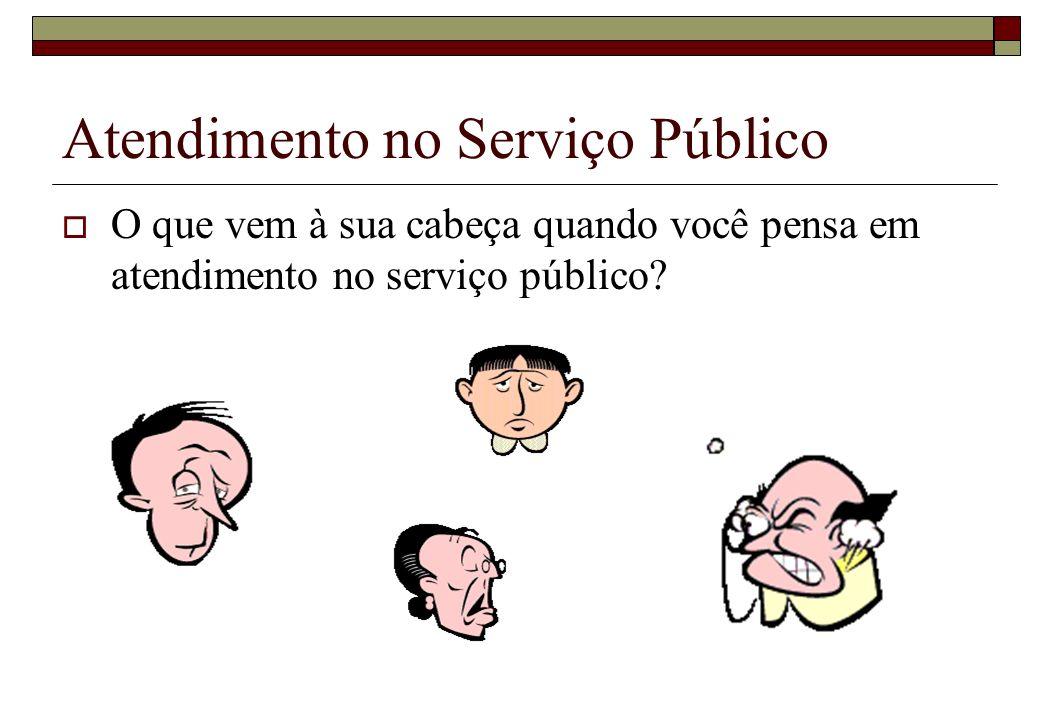 Atendimento no Serviço Público Para o cidadão, a instituição é o ser humano que: responde ao telefone, atende ao balcão, responde aos e-mails ou de alguma forma, mantém contato direto com ele.