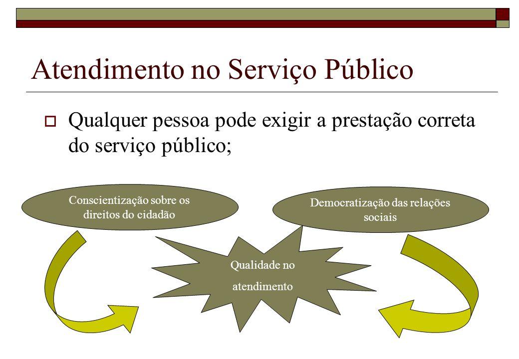 Qualidade no atendimento Democratização das relações sociais Conscientização sobre os direitos do cidadão Atendimento no Serviço Público Qualquer pess