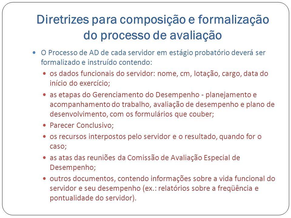 Diretrizes para composição e formalização do processo de avaliação O Processo de AD de cada servidor em estágio probatório deverá ser formalizado e in