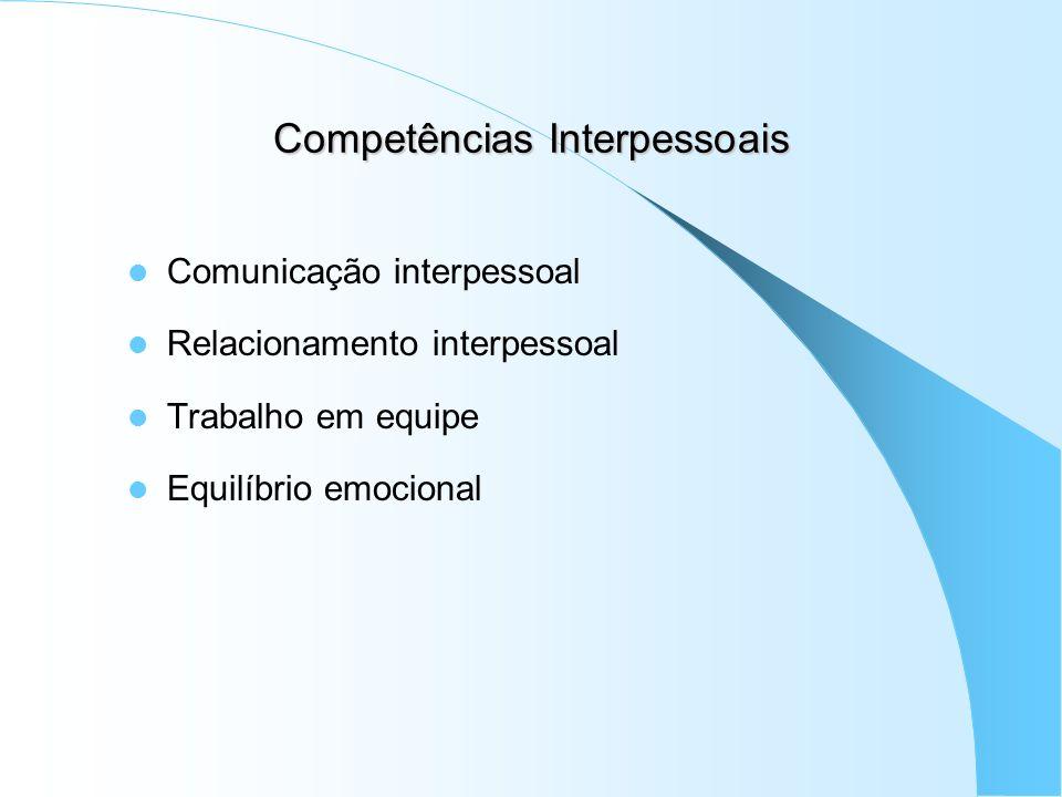 Competências Interpessoais Comunicação interpessoal Relacionamento interpessoal Trabalho em equipe Equilíbrio emocional