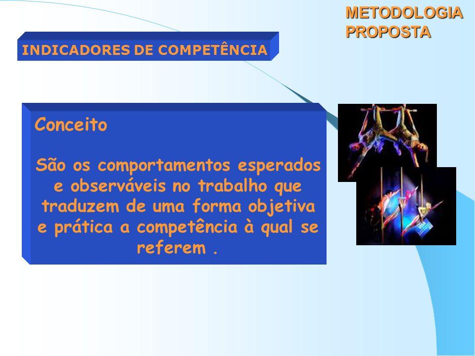 METODOLOGIA PROPOSTA INDICADORES DE COMPETÊNCIA Conceito São os comportamentos esperados e observáveis no trabalho que traduzem de uma forma objetiva