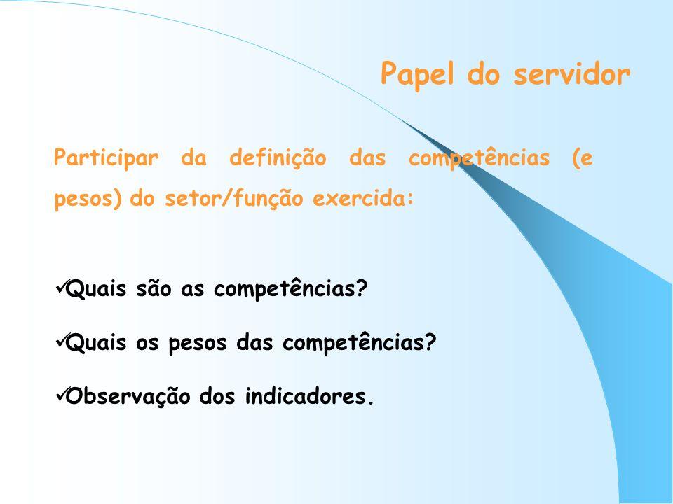Papel do servidor Participar da definição das competências (e pesos) do setor/função exercida: Quais são as competências? Quais os pesos das competênc