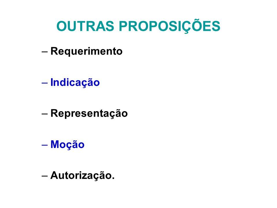 OUTRAS PROPOSIÇÕES –Requerimento –Indicação –Representação –Moção –Autorização.