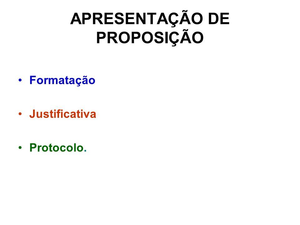 APRESENTAÇÃO DE PROPOSIÇÃO Formatação Justificativa Protocolo.
