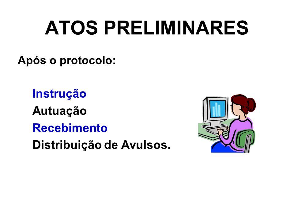ATOS PRELIMINARES Após o protocolo: Instrução Autuação Recebimento Distribuição de Avulsos.