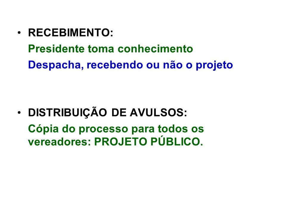 RECEBIMENTO: Presidente toma conhecimento Despacha, recebendo ou não o projeto DISTRIBUIÇÃO DE AVULSOS: Cópia do processo para todos os vereadores: PROJETO PÚBLICO.