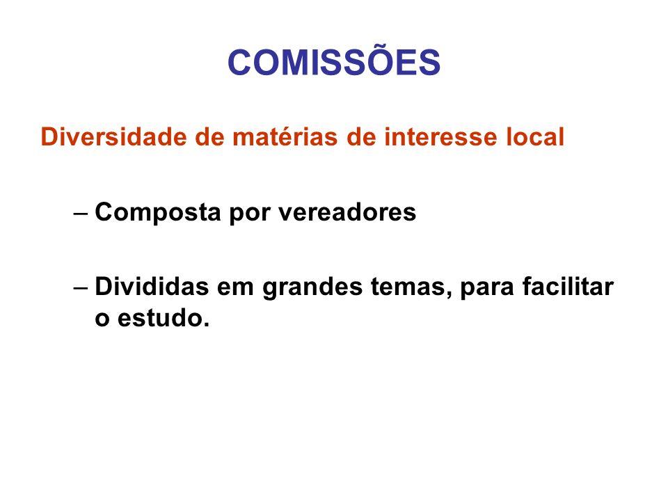 COMISSÕES Diversidade de matérias de interesse local –Composta por vereadores –Divididas em grandes temas, para facilitar o estudo.