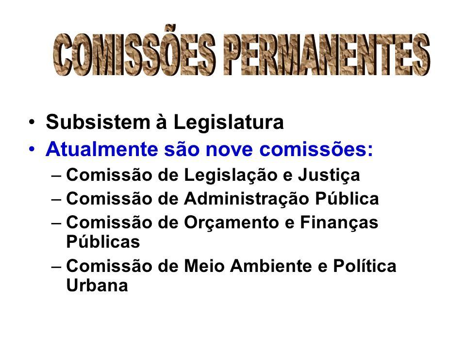 Subsistem à Legislatura Atualmente são nove comissões: –Comissão de Legislação e Justiça –Comissão de Administração Pública –Comissão de Orçamento e Finanças Públicas –Comissão de Meio Ambiente e Política Urbana