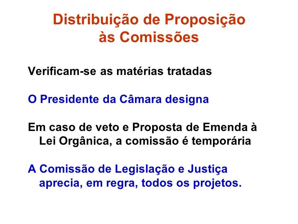 Distribuição de Proposição às Comissões Verificam-se as matérias tratadas O Presidente da Câmara designa Em caso de veto e Proposta de Emenda à Lei Orgânica, a comissão é temporária A Comissão de Legislação e Justiça aprecia, em regra, todos os projetos.
