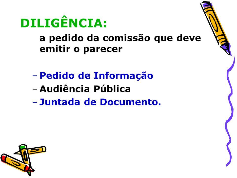 DILIGÊNCIA: a pedido da comissão que deve emitir o parecer –Pedido de Informação –Audiência Pública –Juntada de Documento.