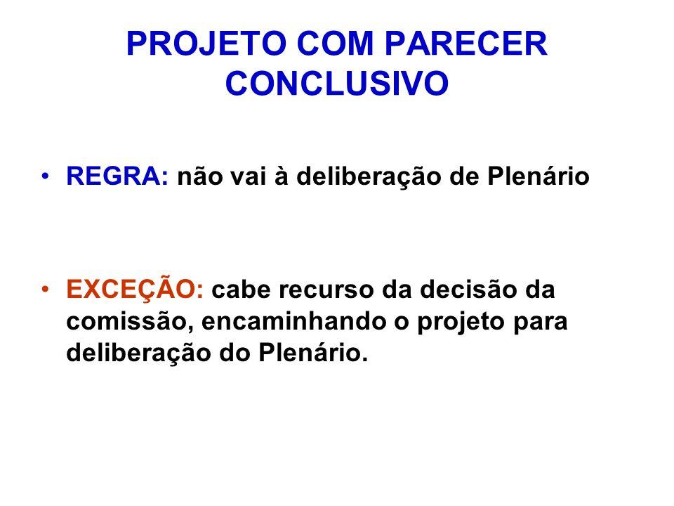 PROJETO COM PARECER CONCLUSIVO REGRA: não vai à deliberação de Plenário EXCEÇÃO: cabe recurso da decisão da comissão, encaminhando o projeto para deliberação do Plenário.