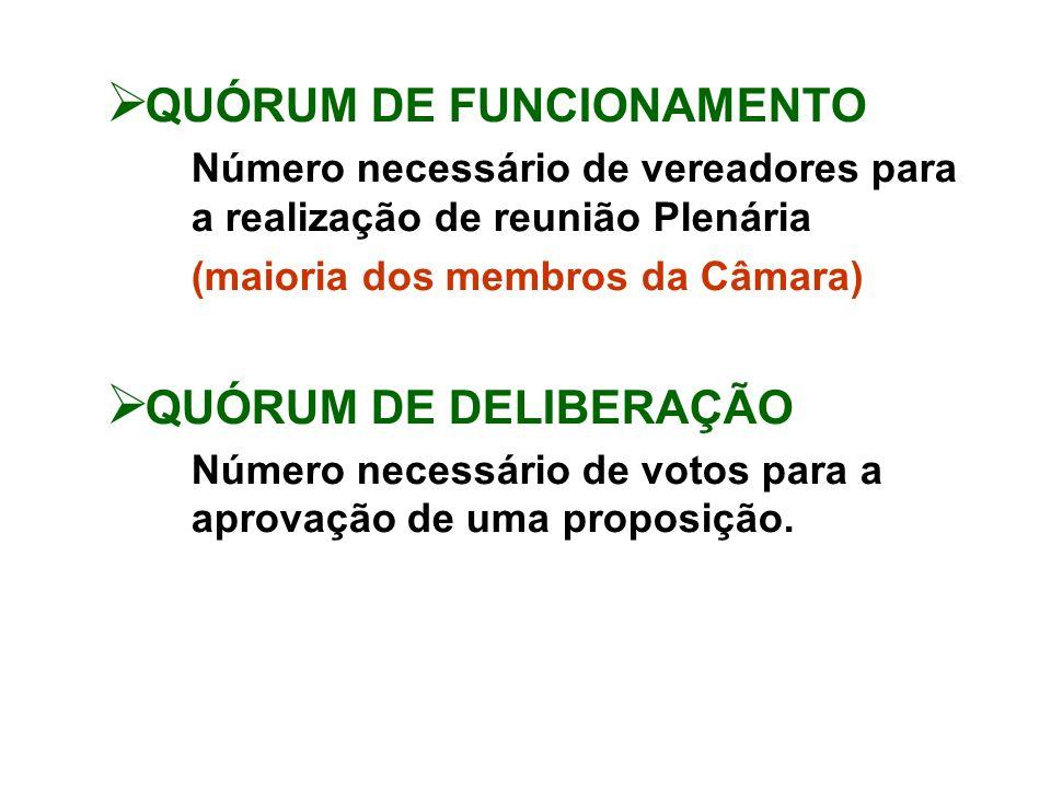 QUÓRUM DE FUNCIONAMENTO Número necessário de vereadores para a realização de reunião Plenária (maioria dos membros da Câmara) QUÓRUM DE DELIBERAÇÃO Número necessário de votos para a aprovação de uma proposição.