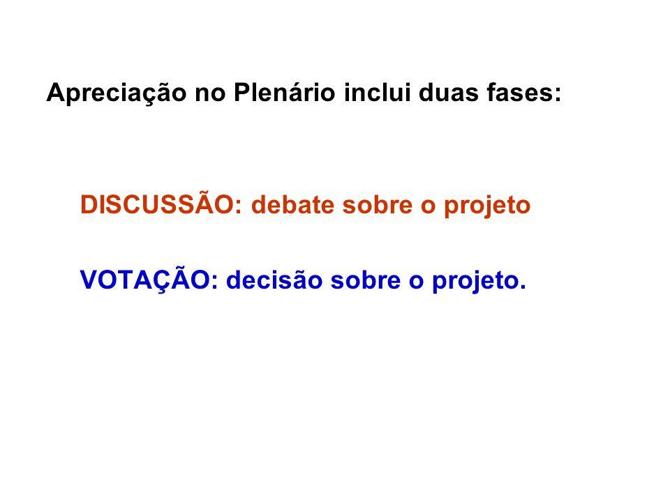 Apreciação no Plenário inclui duas fases: DISCUSSÃO: debate sobre o projeto VOTAÇÃO: decisão sobre o projeto.