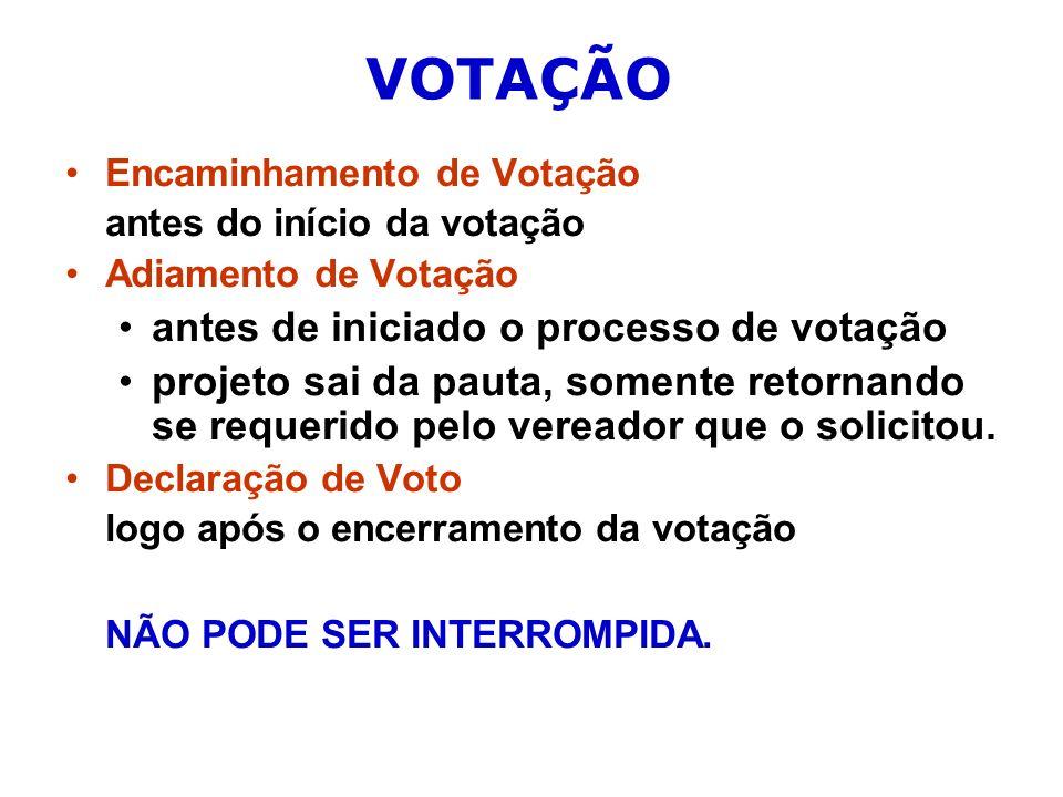 VOTAÇÃO Encaminhamento de Votação antes do início da votação Adiamento de Votação antes de iniciado o processo de votação projeto sai da pauta, somente retornando se requerido pelo vereador que o solicitou.