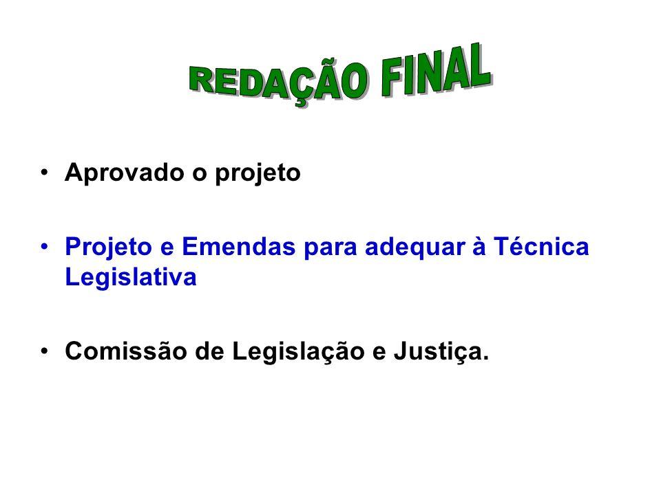 Aprovado o projeto Projeto e Emendas para adequar à Técnica Legislativa Comissão de Legislação e Justiça.