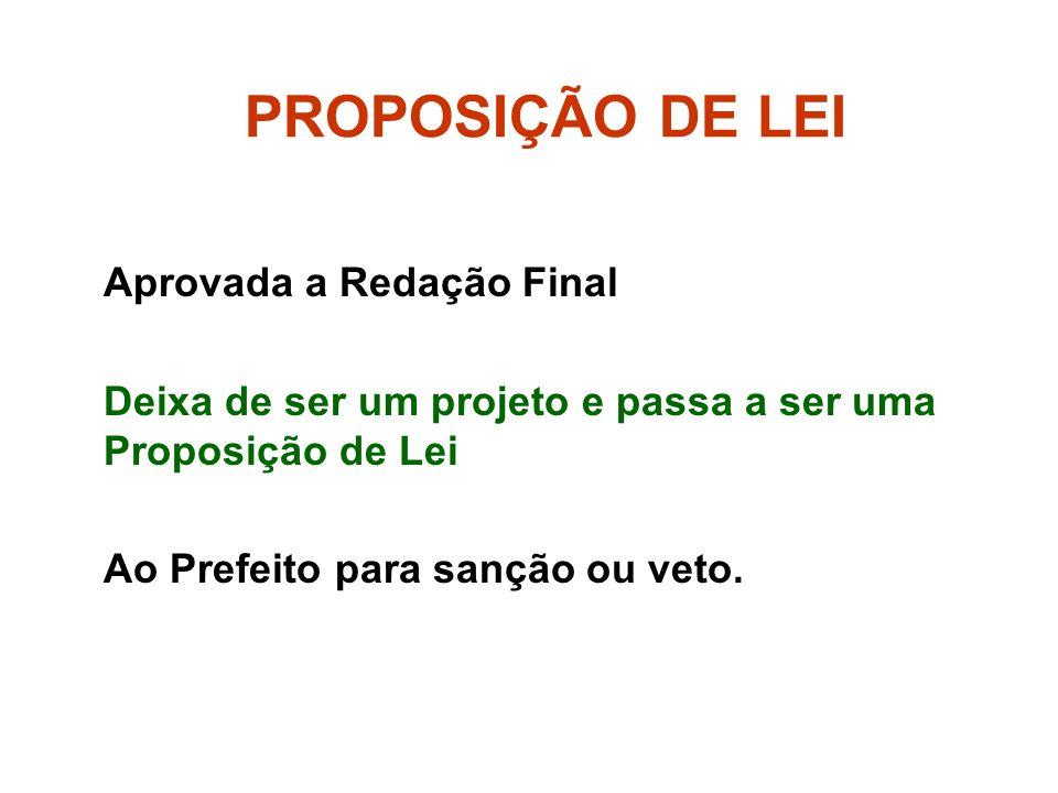 PROPOSIÇÃO DE LEI Aprovada a Redação Final Deixa de ser um projeto e passa a ser uma Proposição de Lei Ao Prefeito para sanção ou veto.
