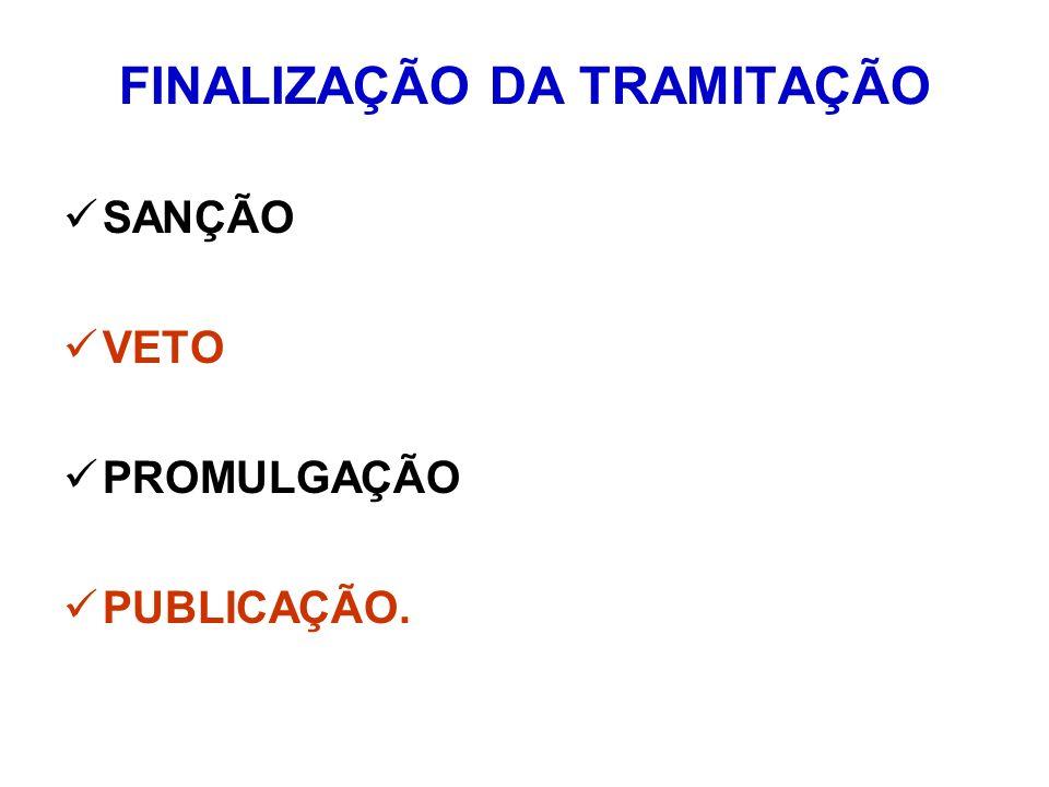 FINALIZAÇÃO DA TRAMITAÇÃO SANÇÃO VETO PROMULGAÇÃO PUBLICAÇÃO.