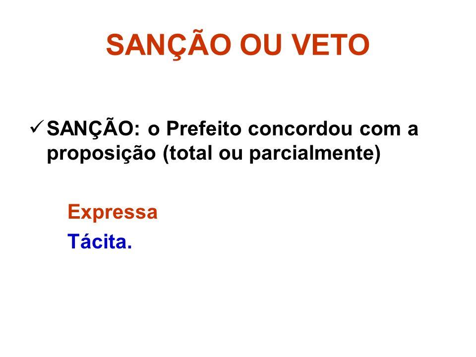 SANÇÃO OU VETO SANÇÃO: o Prefeito concordou com a proposição (total ou parcialmente) Expressa Tácita.