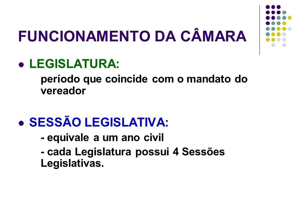 FUNCIONAMENTO DA CÂMARA LEGISLATURA: período que coincide com o mandato do vereador SESSÃO LEGISLATIVA: - equivale a um ano civil - cada Legislatura possui 4 Sessões Legislativas.