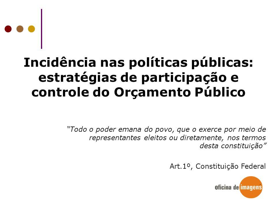 Incidência nas políticas públicas: estratégias de participação e controle do Orçamento Público Todo o poder emana do povo, que o exerce por meio de re