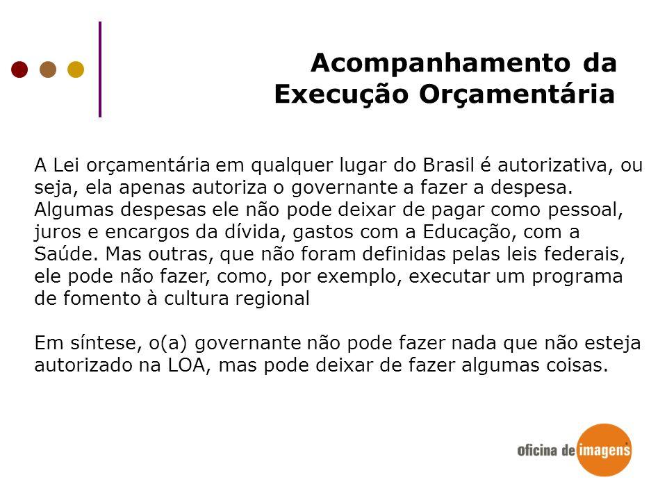 A Lei orçamentária em qualquer lugar do Brasil é autorizativa, ou seja, ela apenas autoriza o governante a fazer a despesa. Algumas despesas ele não p
