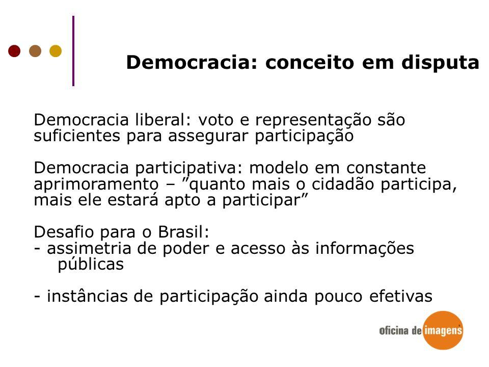 Democracia: conceito em disputa Democracia liberal: voto e representação são suficientes para assegurar participação Democracia participativa: modelo