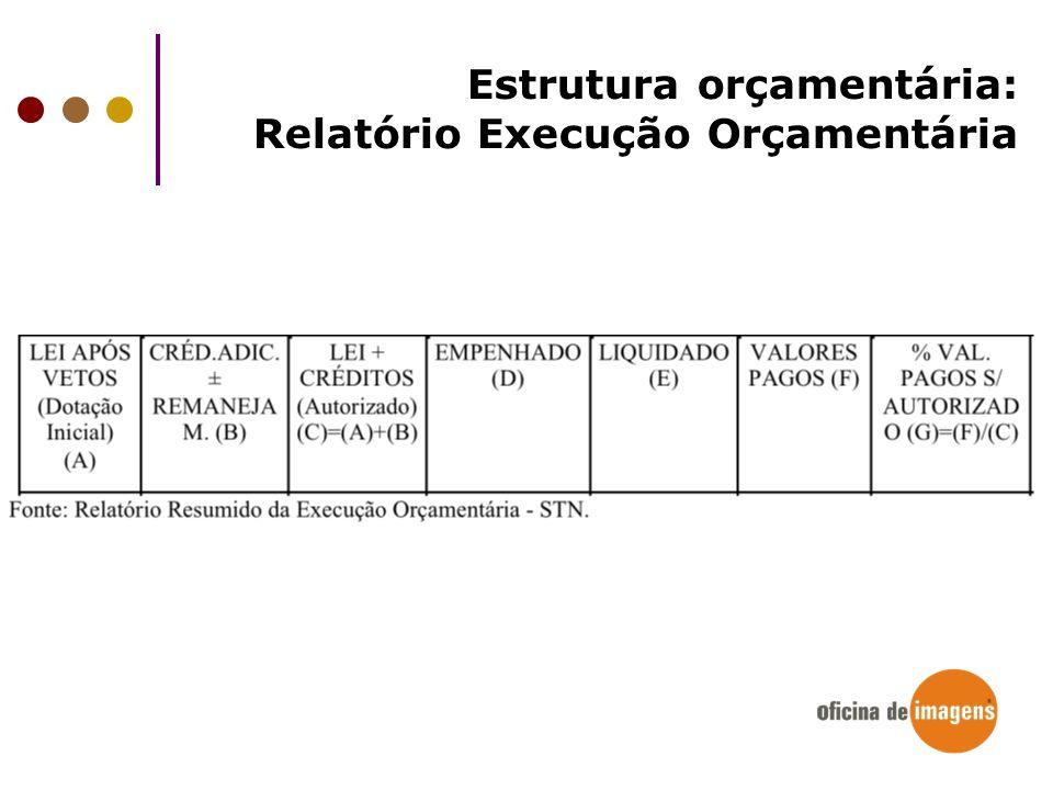 Estrutura orçamentária: Relatório Execução Orçamentária