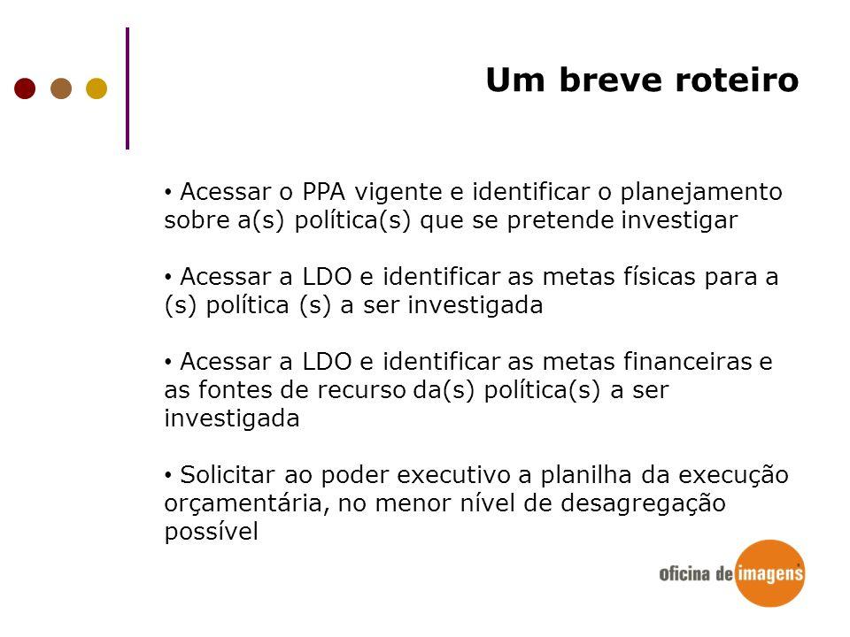 Um breve roteiro Acessar o PPA vigente e identificar o planejamento sobre a(s) política(s) que se pretende investigar Acessar a LDO e identificar as m