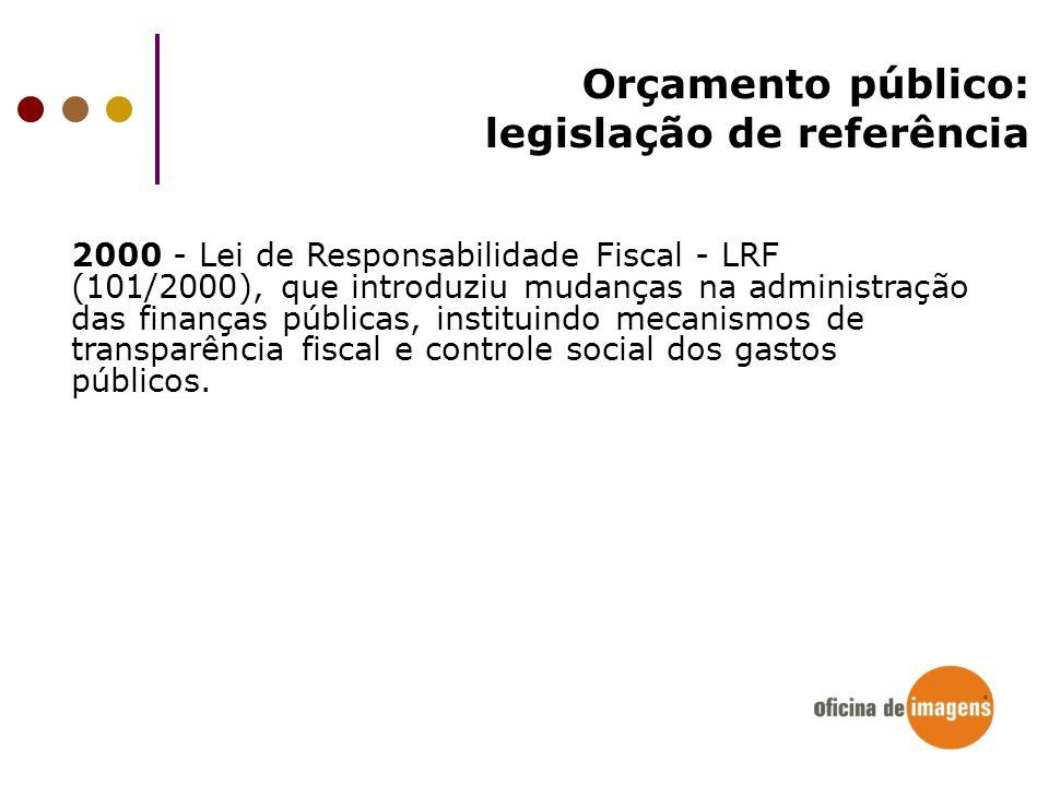 Orçamento público: legislação de referência 2000 - Lei de Responsabilidade Fiscal - LRF (101/2000), que introduziu mudanças na administração das finan