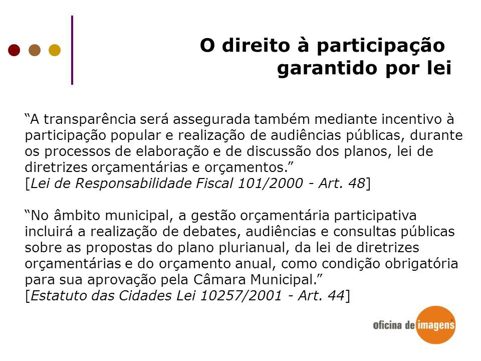 A transparência será assegurada também mediante incentivo à participação popular e realização de audiências públicas, durante os processos de elaboraç