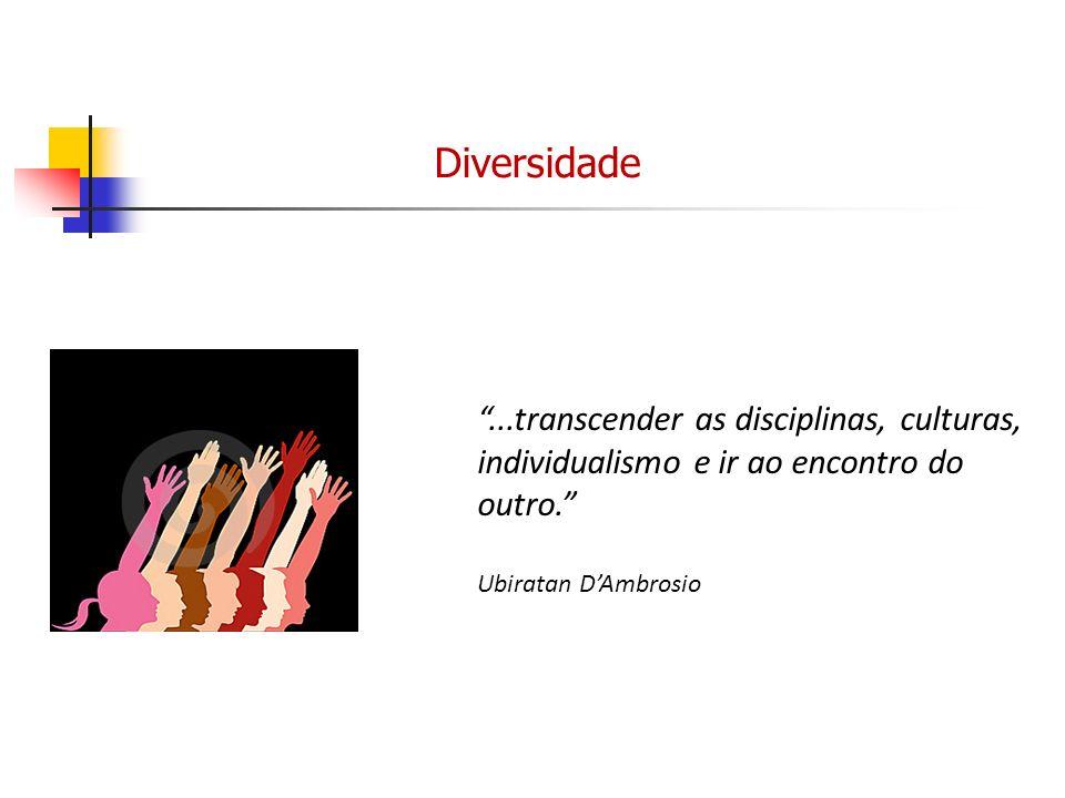 ...transcender as disciplinas, culturas, individualismo e ir ao encontro do outro. Ubiratan DAmbrosio Diversidade