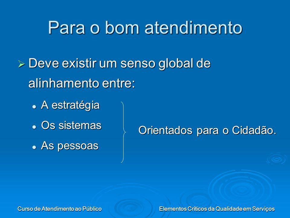 Curso de Atendimento ao PúblicoElementos Críticos da Qualidade em Serviços Para o bom atendimento Deve existir um senso global de alinhamento entre: D