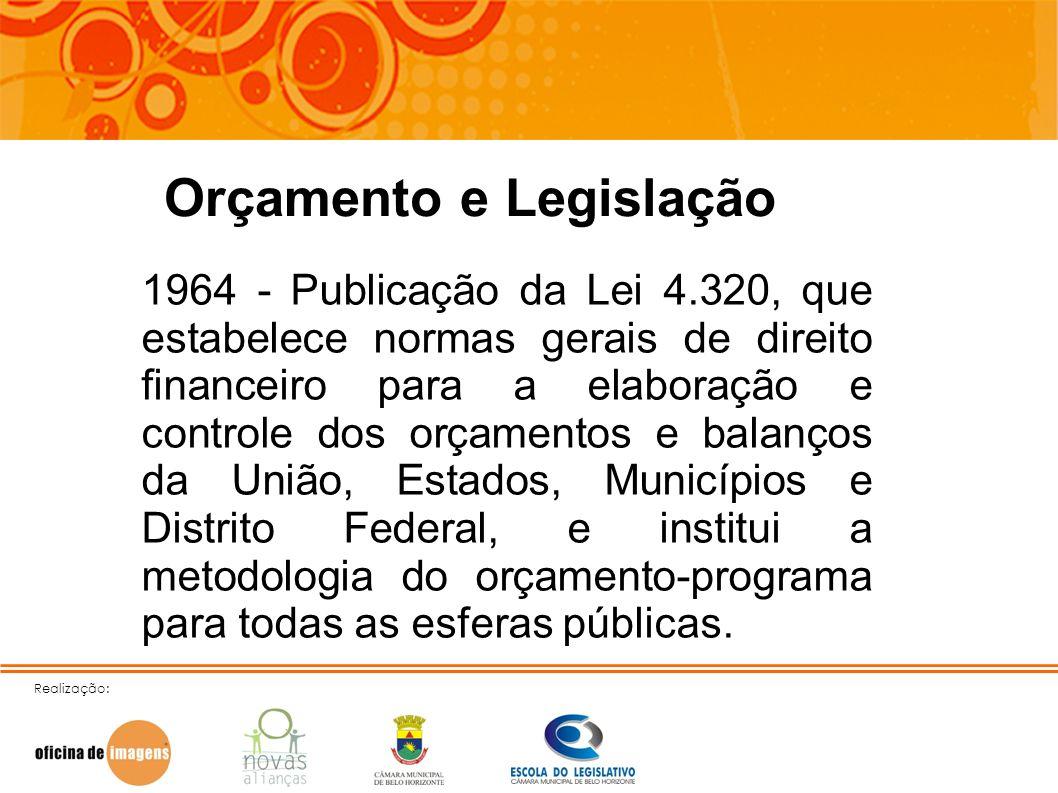 Realização: Orçamento e Legislação 1964 - Publicação da Lei 4.320, que estabelece normas gerais de direito financeiro para a elaboração e controle dos